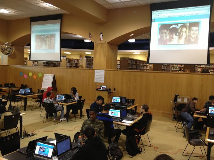Roosevelt students sit in the Molly Pruitt Library taking their first hour of coding