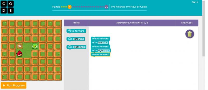 A screenshot from the Hour of Code Program on Code.org