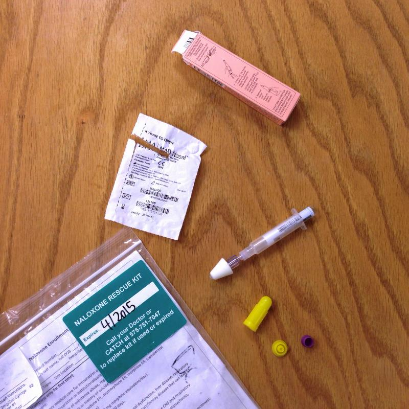 A example of a Naloxone rescue kit given out by the Department of Health.