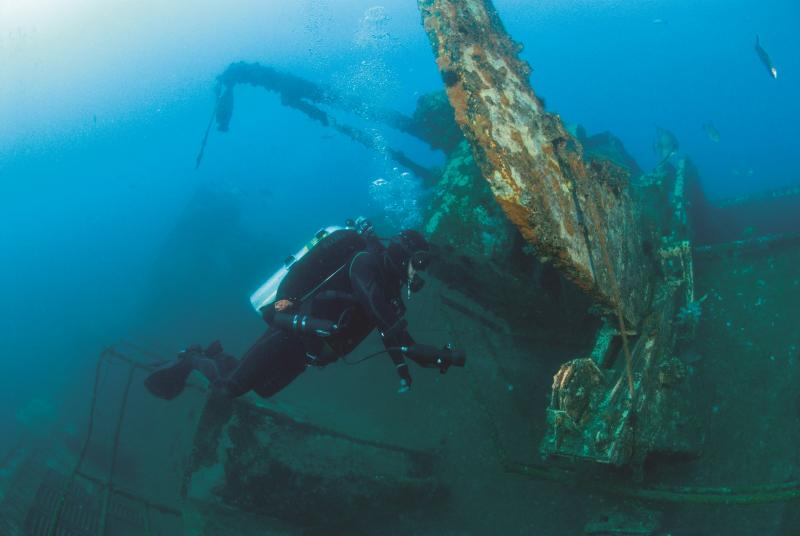Diver near an artificial reef.