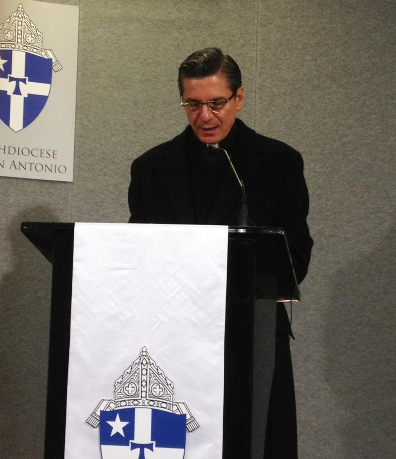 "Archbishop Gustavo García-Siller takes the podium announcing the open letter, ""Family Beyond Borders."""