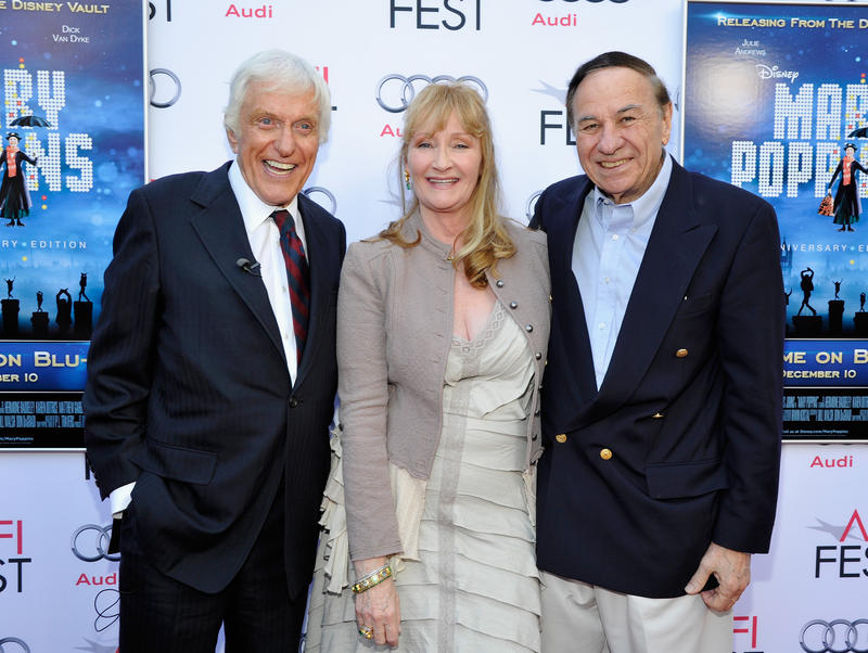(L-R) Actor Dick Van Dyke, actress Karen Dotrice and composer Richard Sherman attending the 'Mary Poppins' 50th Anniversary Commemoration Screening at AFI Fest at TCL Chinese Theatre on November 9, 2013 in Hollywood, CA.