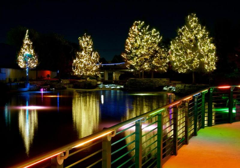 Christmas lights along the Museum Reach.