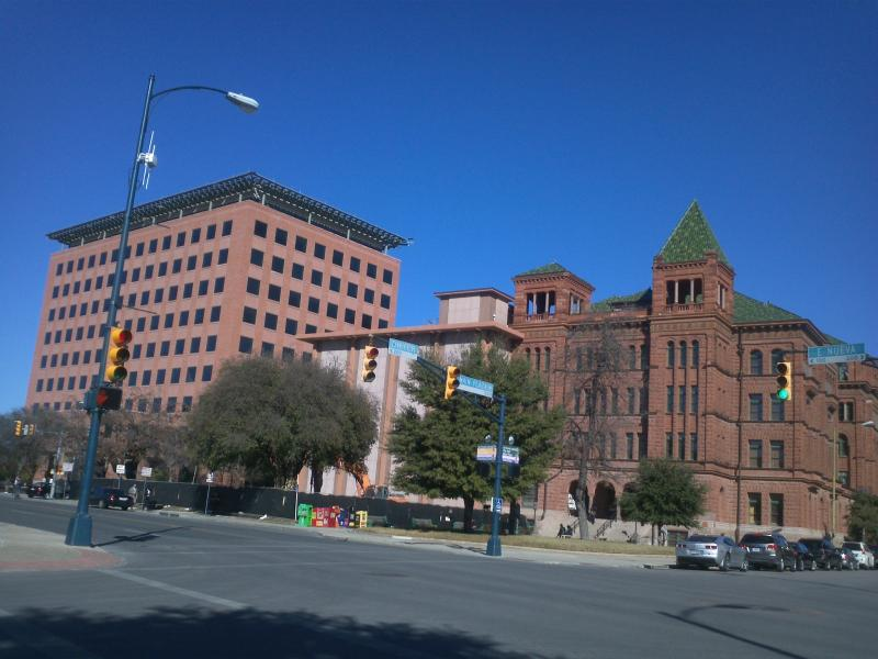 South view of the historic Bexar Co. Courthouse. The 20th Century Gondek addition is being removed in the courthouse restoration project