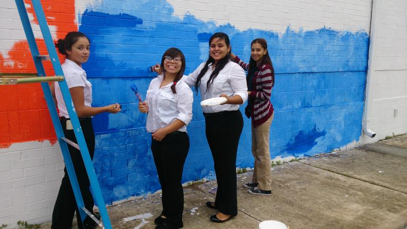 Students Painting Government Hill Mural
