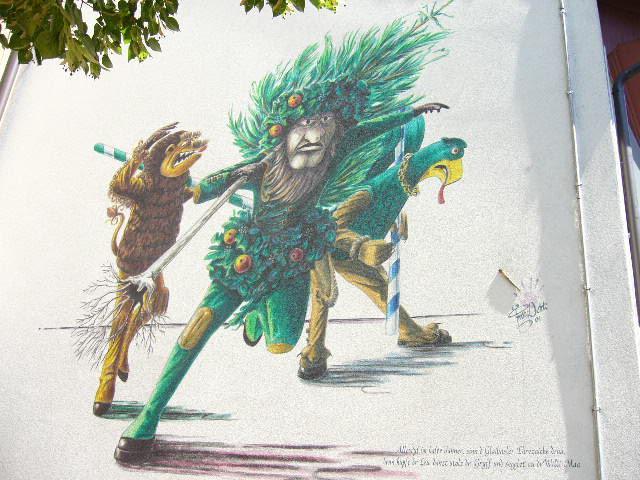 Vogel Gryff mural in Basel.