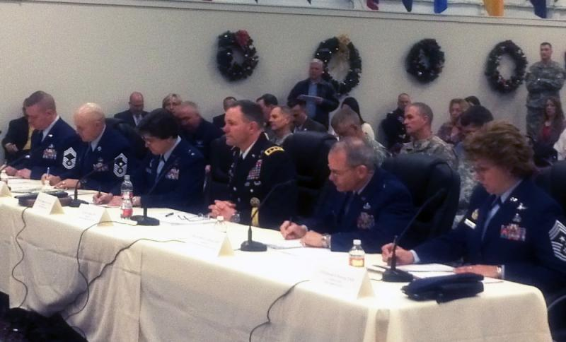 Leadership of all branches of armed s ervices testified at Monday's hearing: [Left to Right] CMSgt Brian O'Mullan, CMSgt Craig Recker, Maj. Gen. Margaret Poore, Lt. Gen. Perry L. Wiggins, Brig. Gen. Robert LaBrutta, and CMSgt Rhonda Buening