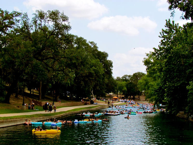 Tubers on the Comal River in New Braunfels.