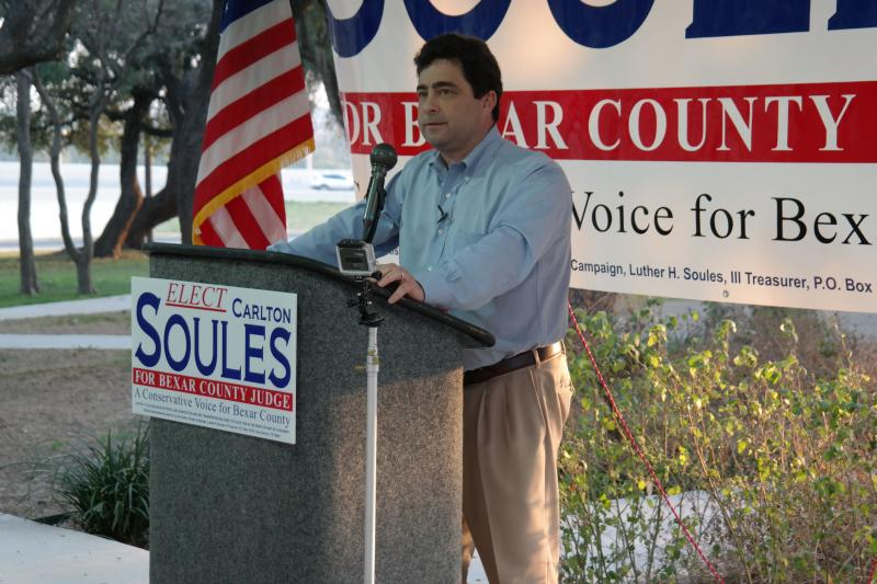 Carlton Soules officially kicked off his campaign for Bexar County judge on Sunday among a crowd of supporters.