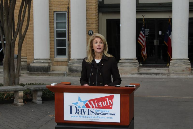 Likely Democratic gubernatorial nominee Wendy Davis speaks in front of Austin Community College's Rio Grande Campus on the Texas school finance lawsuit.