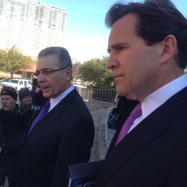 Attorneys representing the plaintiffs Barry Chasnoff (left) and Neel Lane take questions outside.