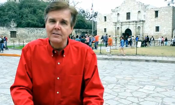 Republican lieutenant governor candidate Dan Patrick sits outside the Alamo to call out Mayor Castro ahead of the March primary.
