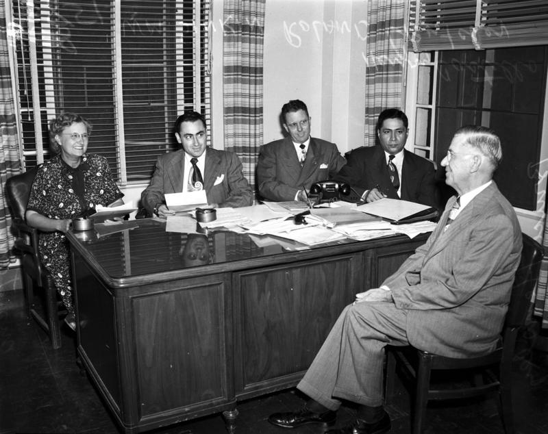 From left to right: Mrs. Tom Blue, Bill Sinkin, Roland Crutcher, Henry Castillo, and Bruce Hensley (1940s).