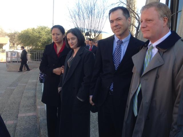 The two Texas couples challenging the state's ban on same-sex marriage (from left to right): Cleo DeLeon and Nicole Dimetman, and Victor Holmes and Mark Phariss.