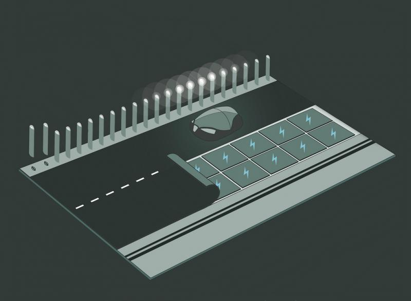 Studio Roosegaarde, a Danish design firm, has posited several smart-highway designs both low and high tech. Here is one such concept with lights illuminating only the car's path and an electric grid under the pavement.