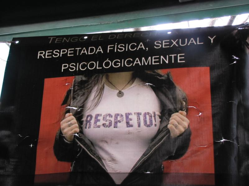 "A poster hanging in a migrant shelter in Nogales, Mexico. The text reads ""I have the right to be respected physically, sexually and psychologically,"" in Spanish."