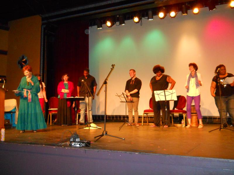 Poet Laureate, Carmen Tafolla (left) and Mi Pueblo players at the Guadalupe Theater.