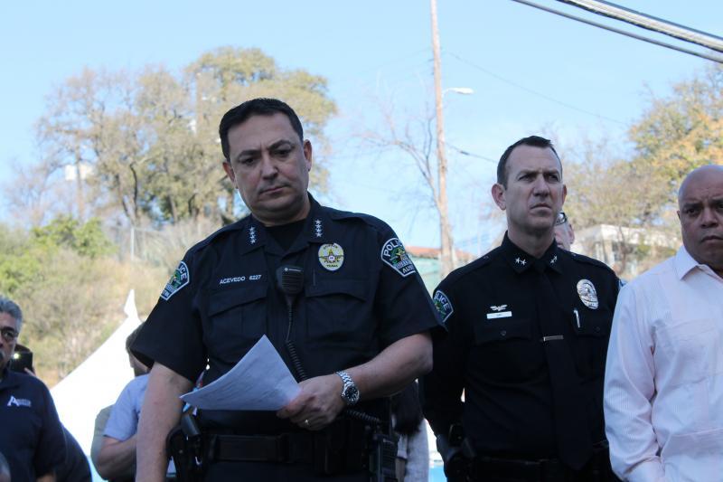 Austin Police Chiefe Art Acevedo addresses the press.
