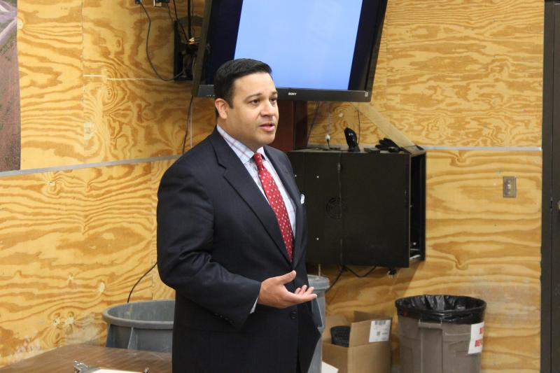 State Rep. Jason Villalba, R-Dallas, speaking to school marshal instructors at the training facility.
