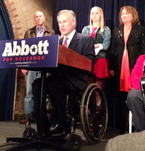 Republican Nominee for Texas Governor Greg Abbott addresses supporters primary night after winning 91.5% of the votes.