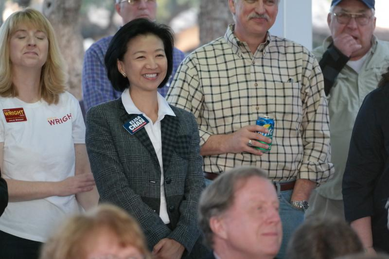 Fomer City Councilwoman Elisa Chan attends a campaign kick-off party for fomer colleague Carlton Soules. Chan said she had no knowledge of promises being made by her staff to fomer constituents.