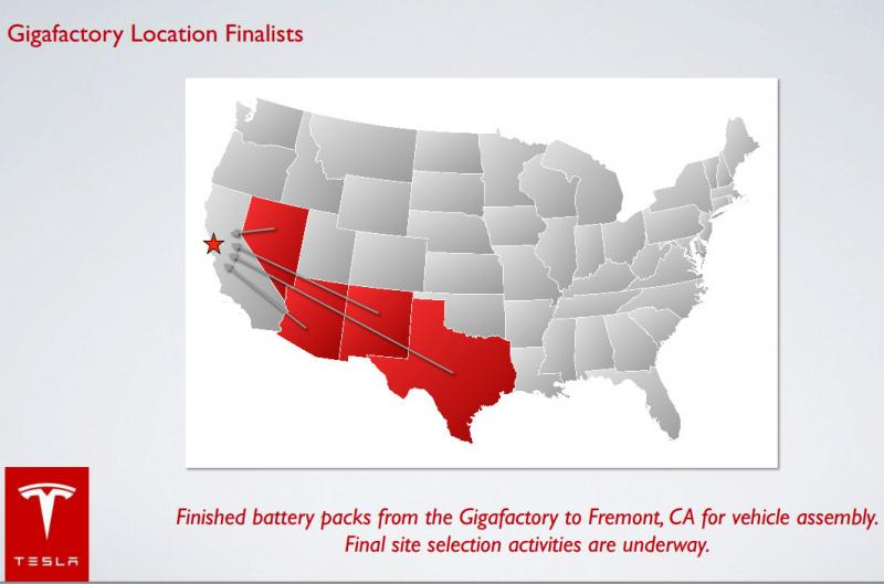 Nevada, Arizona, New Mexico and Texas have all been named by Tesla as potential cites for the gigafactory.