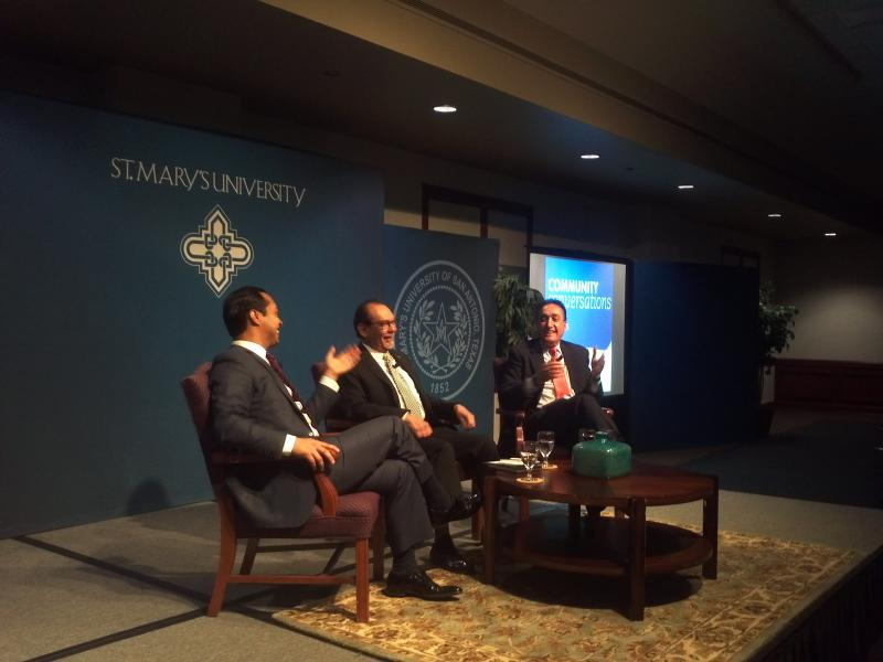 San Antonio Mayor Julián Castro and former Mayor Henry Cisneros in conversation with Dr. Henry Flores (center).