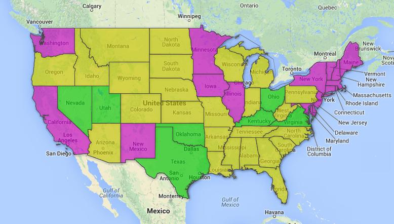 *States in purple have made same-sex marriage legal, states marked in yellow have bans against such marriages and states marked in green represent new developments or legal proceedings working through federal court.