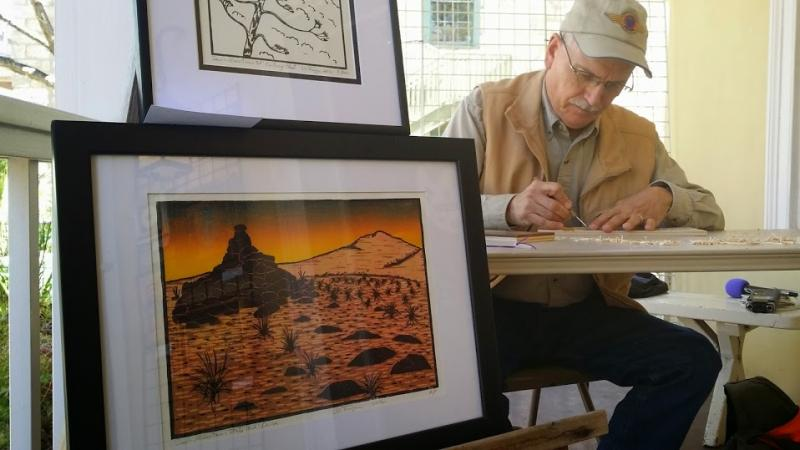 Wendell Fuqua is an artist who works at the River Art Gallery one day a month.