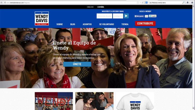 Screenshot from wendydavistexas.com/es