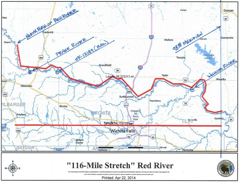 Area of the Red River in dispute near Wichita Falls. This map was provided to the Texas Tribune via Tommy Henderson. Can be downloaded at: http://www.texastribune.org/2014/04/28/blurred-lines-texas-blm-spat-has-complicated-histo/