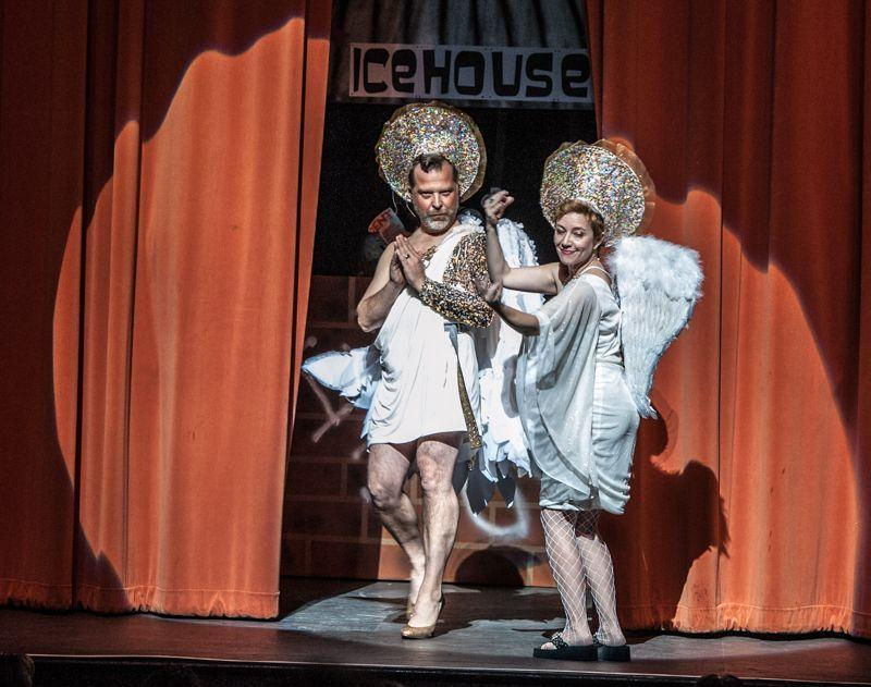 Rick Frederick and Elaine Wolff open the ceremonies of Cornyation 2014 dressed as angels.