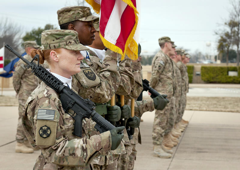 Soldiers at Fort Hood present colors on Feb. 12, 2014. https://www.flickr.com/photos/forthood/12505735923/