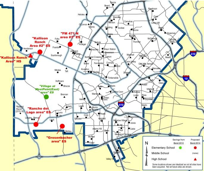 A portion of NISD's district map showing the new schools that will be built in the bond.