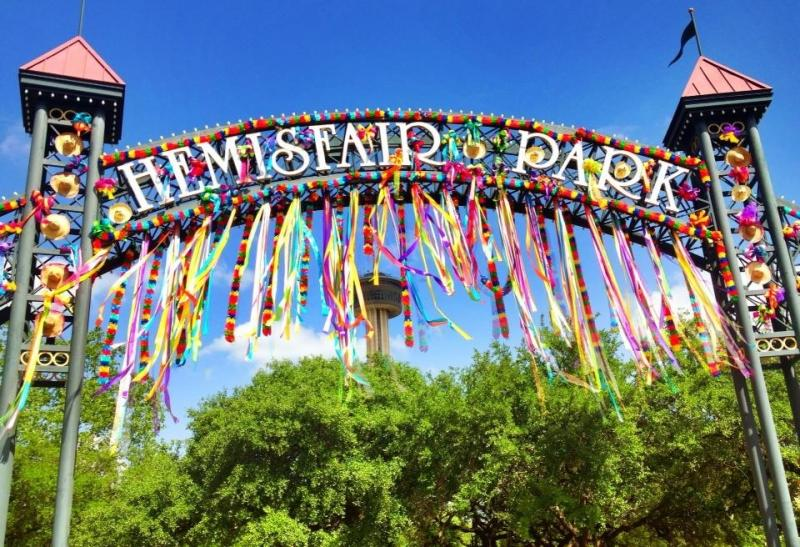 Hemisfair arch decorated.