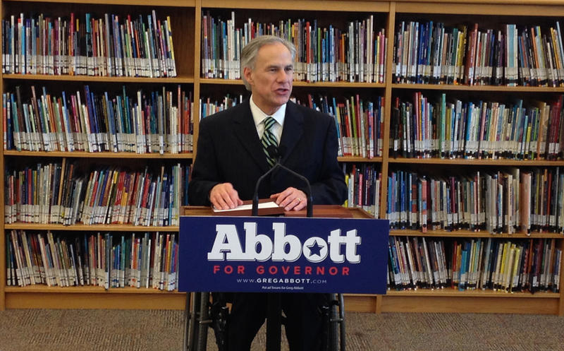 Texas Attorney General Greg Abbott discusses his education plan with the media at the IDEA Carver Academy on S. Hackberry Street in San Antonio.