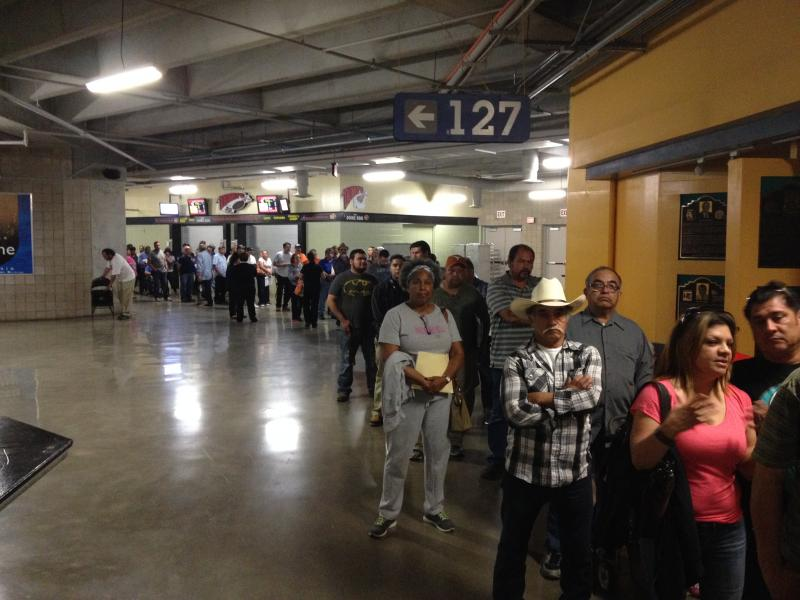 Just one portion of the line that stretched throughout the Alamodome.