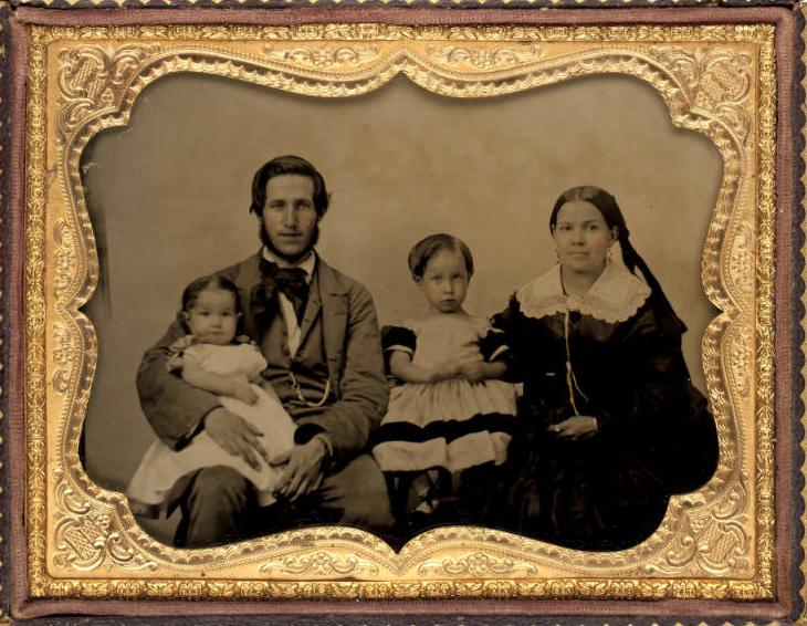 Lent Munson Hitchcock with wife, Emily, and their two children (1855).