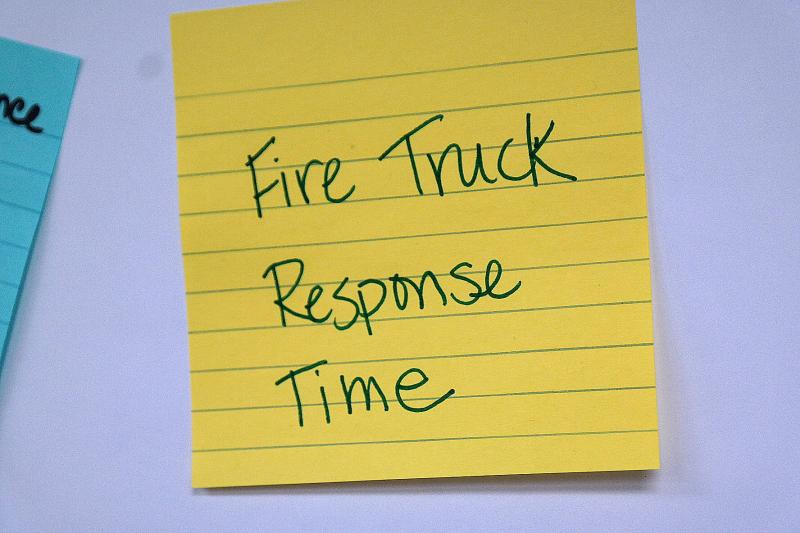 "One constituent wrote, ""Fire truck response time,"" as a request for improvement."
