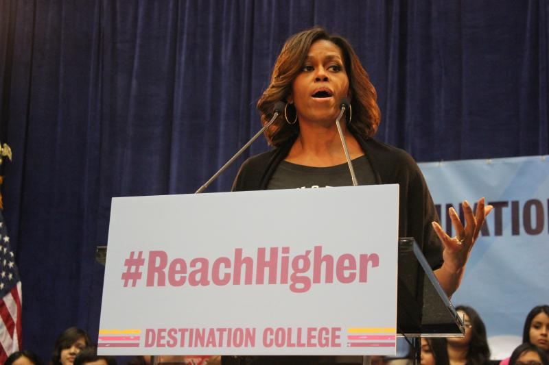 First Lady Michelle Obama speaks at SA2020's College Signing Day