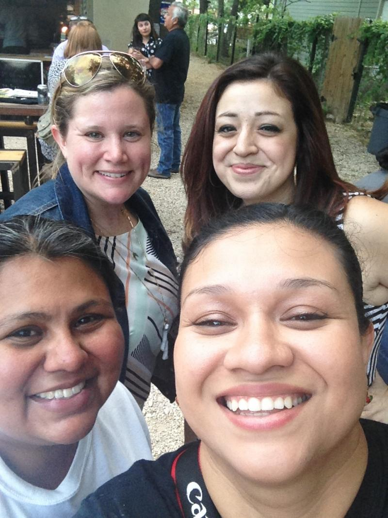 Clockwise from lower right: Samantha Lopez (San Anto Cultural Arts), Elisa Gonzales, Mary Flannigan (SA Youth Literacy), and Stephanie Guerra (Puro Pinche) at Taps y Tapas.