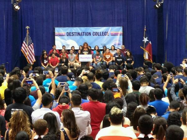 First Lady Michelle Obama speaking at The University of Texas at San Antonio Friday for College Week.