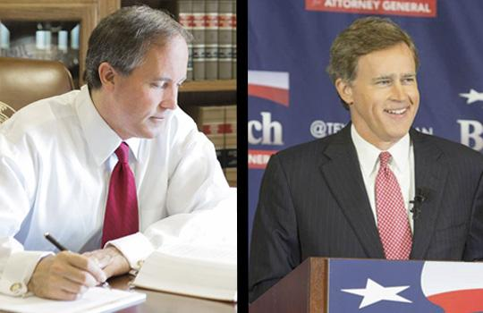 Republican attorney general candidates Ken Paxton (left) and Dan Branch.