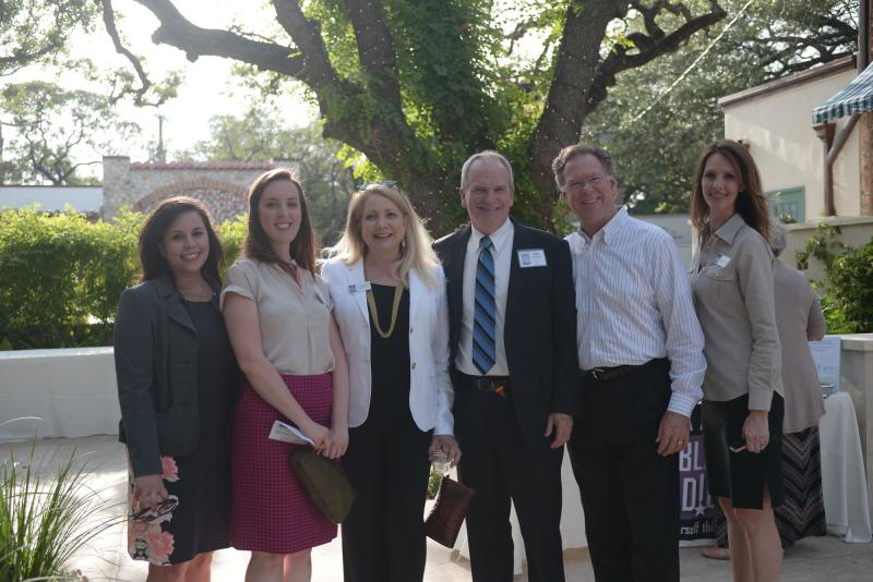 Sponsors Melanie Call, Nicolette Good and Earnie Broughten of St. Mary's University Office of Communication with TPR's Joyce Slocum, Kellie Fichter and TPR board member Tim Watt