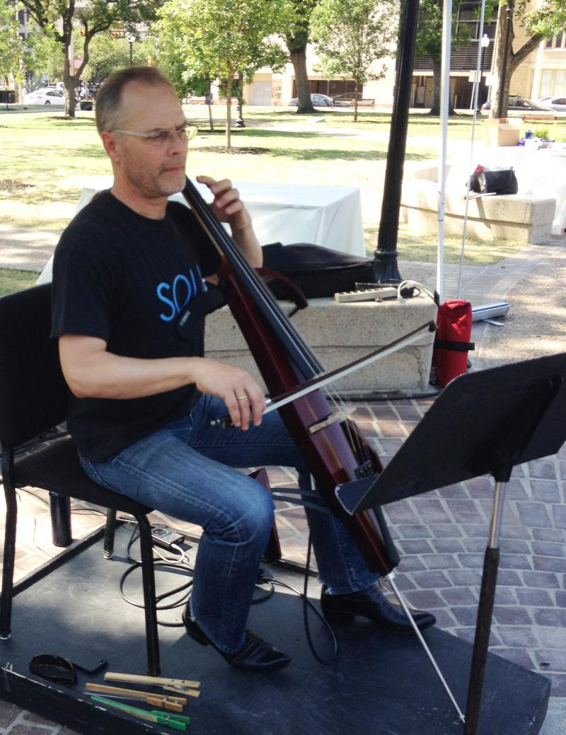 David Mollenauer of SOLI Chamber Ensemble played Bach and Led Zeppelin.