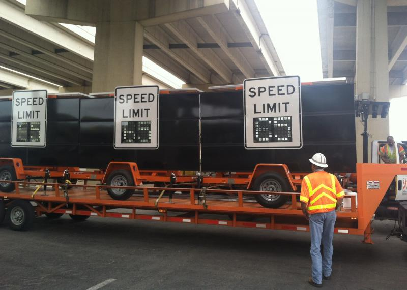 TxDOT displays some of the digitial speed limit signs that will be used in the pilot.