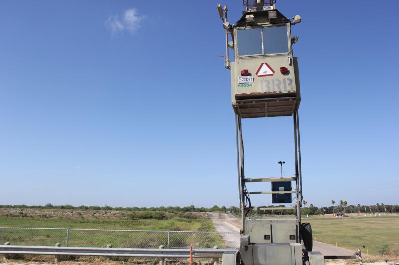 A U.S. Border Patrol watch tower overlooking the entrance of the Anzaldua's County Park near Mission, Texas.
