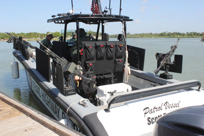 The DPS Patrol Boat pulls away from the dock and heads off down the Rio Grande River.