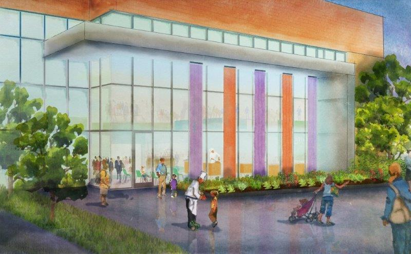 A rendering of the exterior of the teaching kitchen.