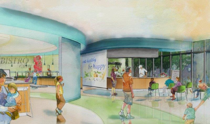 A rendering of the Children's Hospital of San Antonio's teaching kitchen.